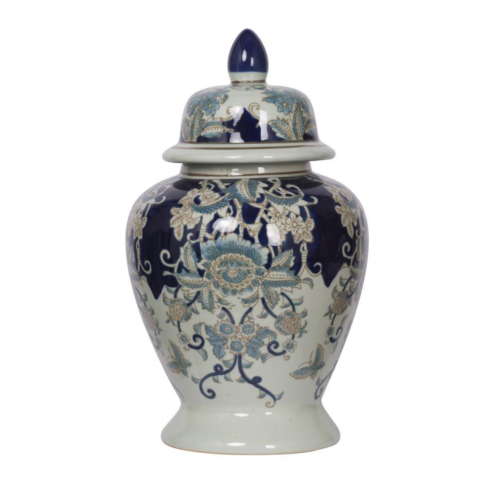 Bryn Blue, Gold, White Medium Ginger Jar