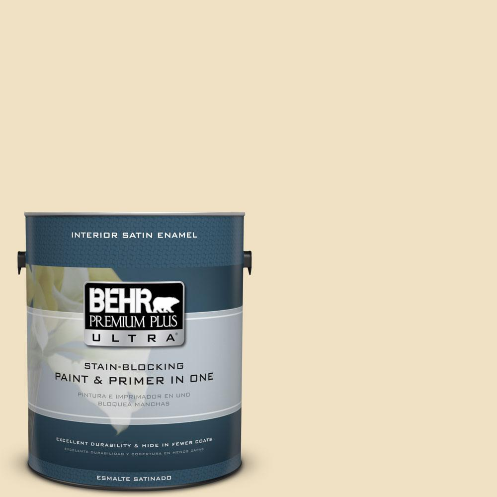 BEHR Premium Plus Ultra Home Decorators Collection 1-gal. #HDC-NT-17 New Cream Satin Enamel Interior Paint