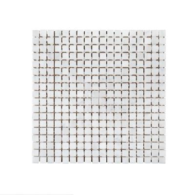 Butterfly Kisses White 9.875 in. x 9.875 in. Square Mixed Marble Wall and Floor Mosaic Tile (.677 sq. ft./ Each)