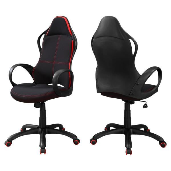 Black with Red Fabric Office Chair