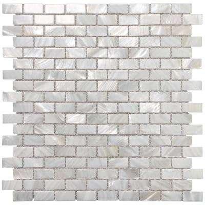 12 in. x 12 in. Mother of Pearl Backsplash Mosaic Subway Tile in Natural White (10-Pack)
