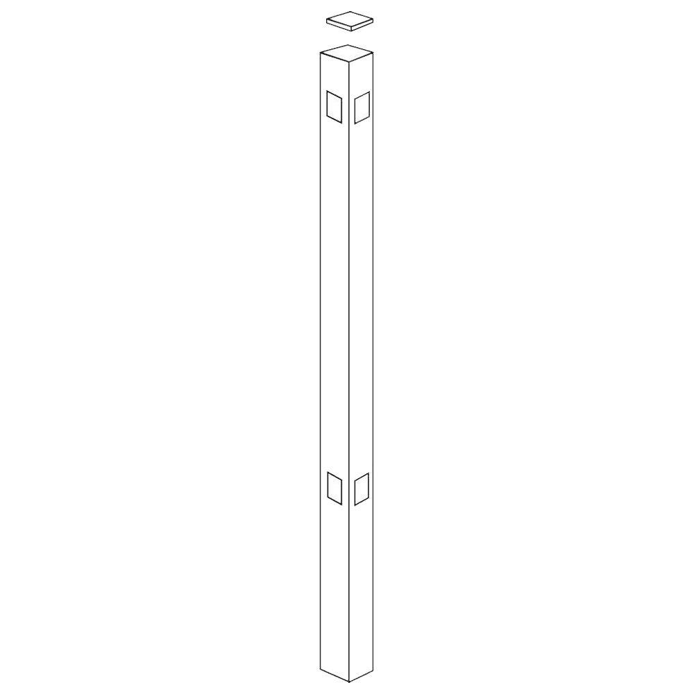 Allure Aluminum 70 in. Aluminum White Fence Corner Post Use with 48 in. Fence-DISCONTINUED