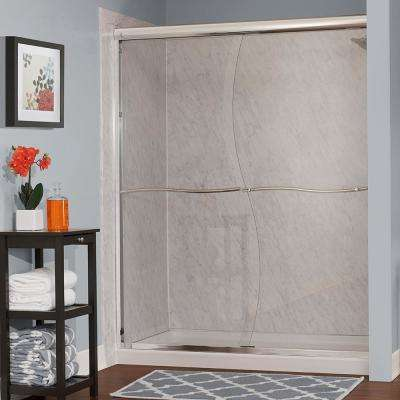 Cove 60 in. W x 72 in. H Frameless Sliding Shower Door in Silver