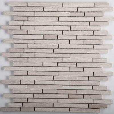 Marble Cream Honed 11.85 in. x 13.15 in. x 10 mm Limestone Mesh-Mounted Mosaic Tile (1.07 sq. ft.)