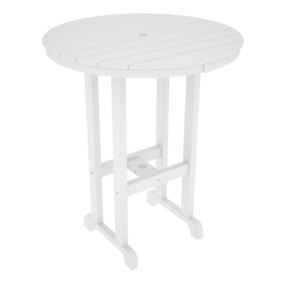 La Casa Cafe White 36 in. Round Plastic Outdoor Patio Bar