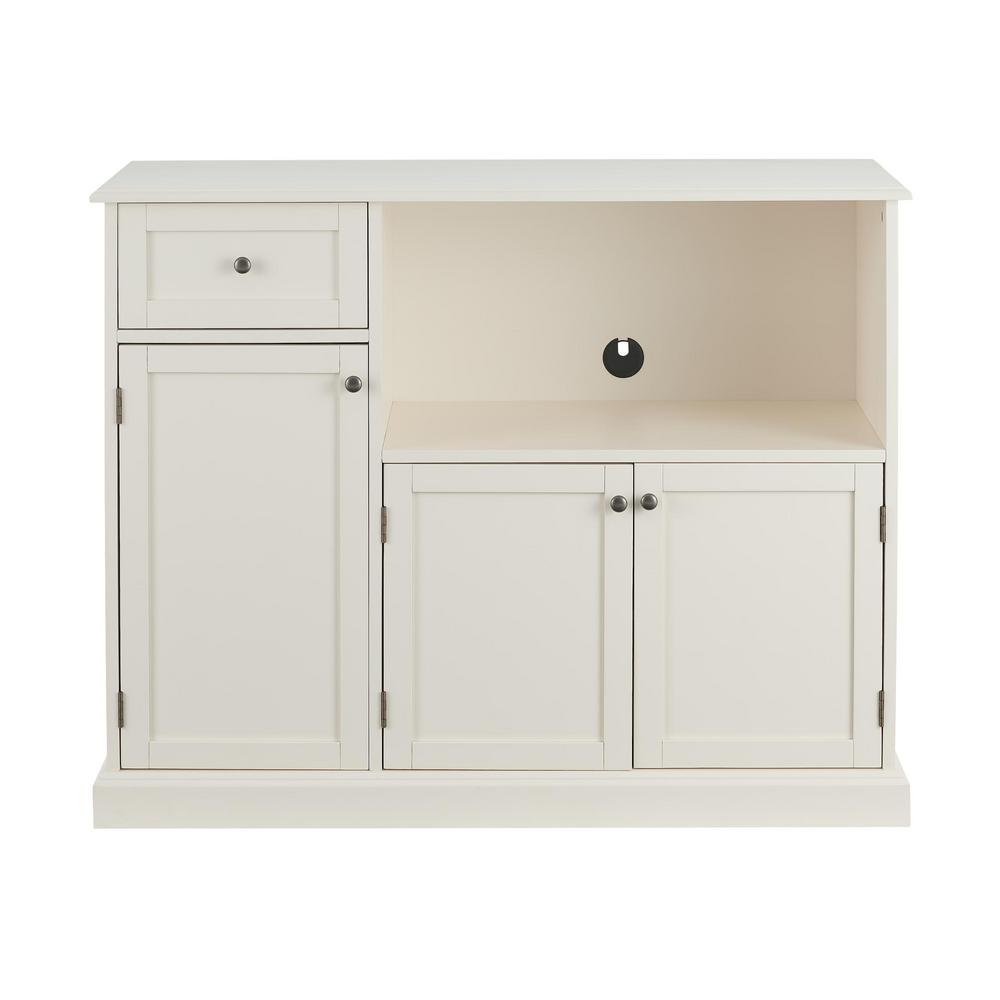 Stylewell StyleWell Ivory Wood Transitional Kitchen Pantry with Pull-Out Shelf (42 in. W x 36 in. H)