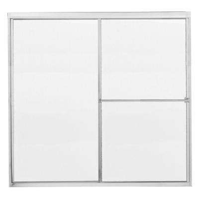 Model 1100 58-1/2 in. x 56-3/4 in. Framed Sliding Tub Door in Bright Clear with Rain Glass and Towel Bar