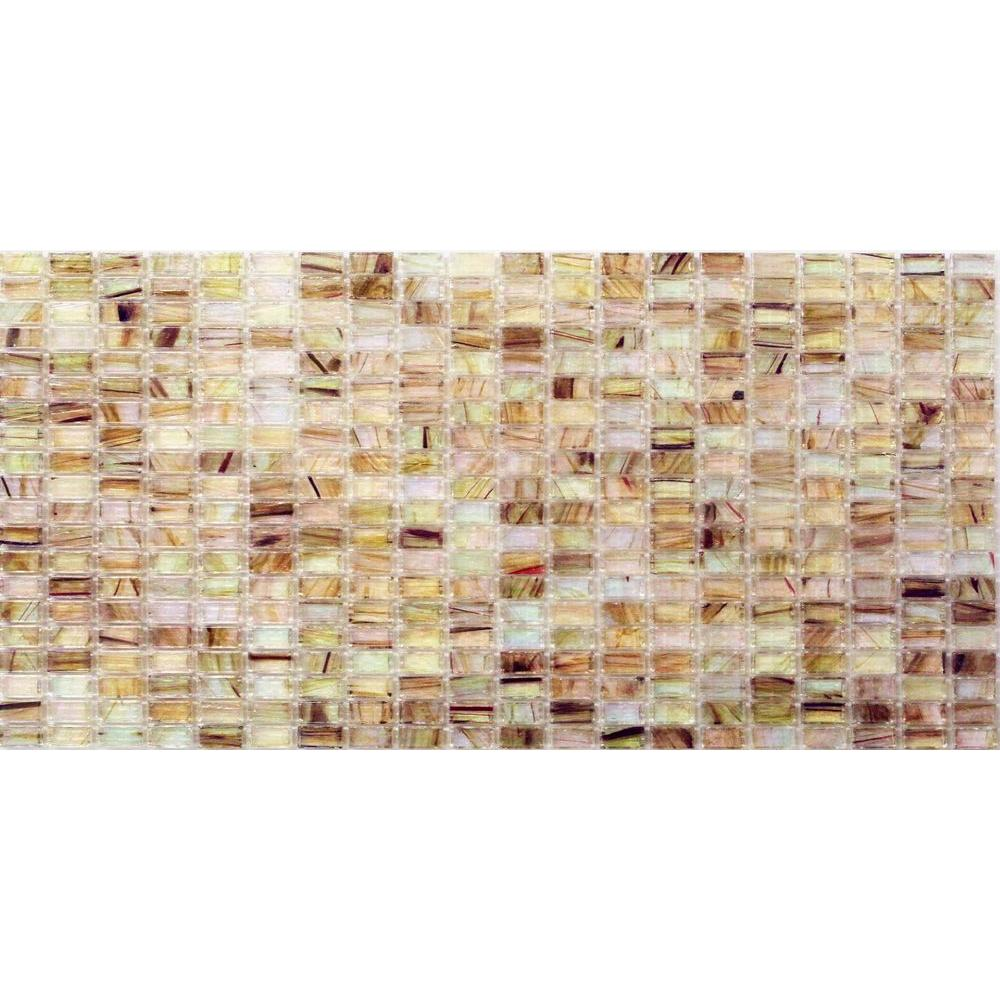 Breeze White Gold Stained Glass Mosaic Floor and Wall Tile -
