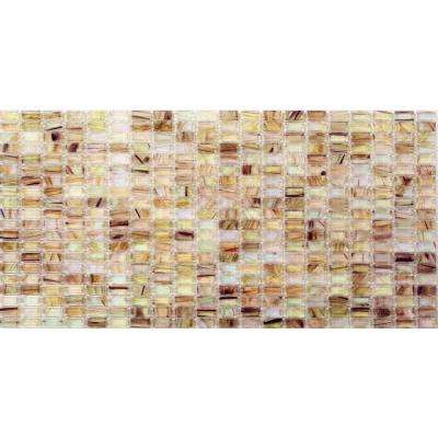 Breeze White Gold Stained Glass Mosaic Floor and Wall Tile - 3 in. x 6 in. Tile Sample