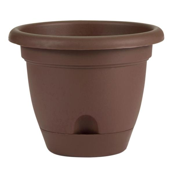 Lucca 8.75 in. Chocolate Plastic Self-Watering Planter with Saucer