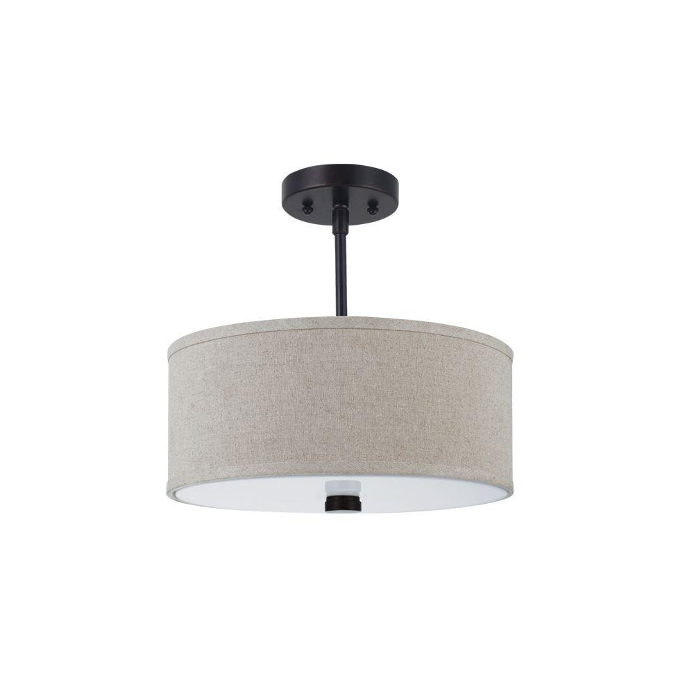 Sea Gull Lighting Dayna Shade Pendants 2-Light Burnt Sienna Semi-Flush Mount Convertible Pendant