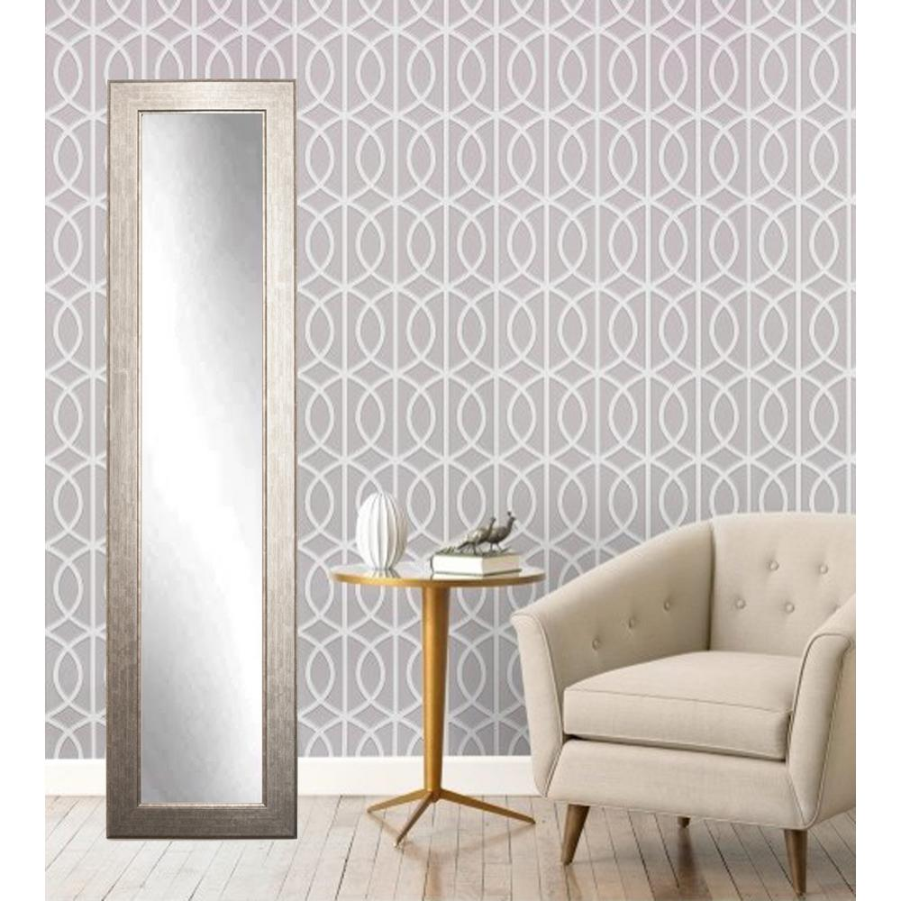 Modern subway silver full length framed mirror bm14skinny for Skinny wall mirror