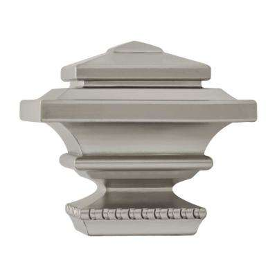 1 in. Square Finial in Brushed Nickel (2-Pack)