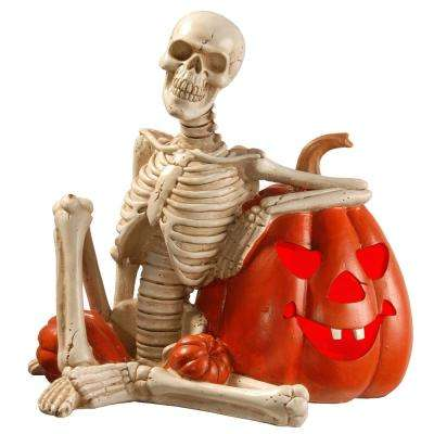 9 in. Lighted Skeleton and Pumpkin Halloween Décor