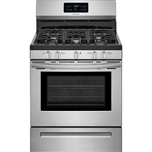 Click here to buy Frigidaire 5.0 cu. ft. Gas Range with Self-Cleaning QuickBake Convection Oven in Stainless Steel by Frigidaire.