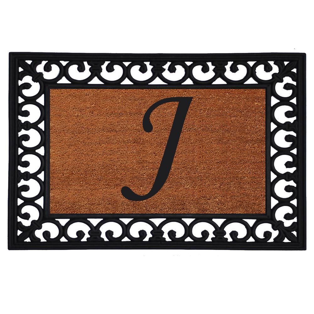 Monogram Insert Door Mat 19 in. x 25 in. (Letter J), Multi