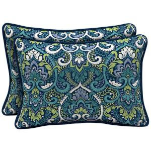 22 x 15 Sapphire Aurora Damask Reversible Oversized Lumbar Outdoor Throw Pillow (2-Pack)