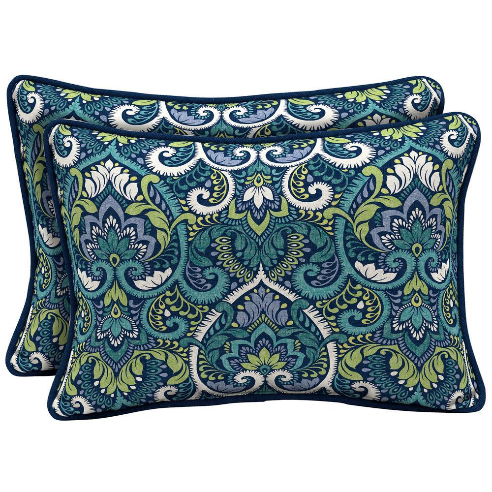 22 x 15 Sapphire Aurora Damask Reversible Oversized Lumbar Outdoor Throw Pillow (2-Pack)