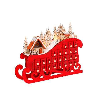 14.57 in. H Lighted Sleigh Advent Countdown to Christmas Calendar