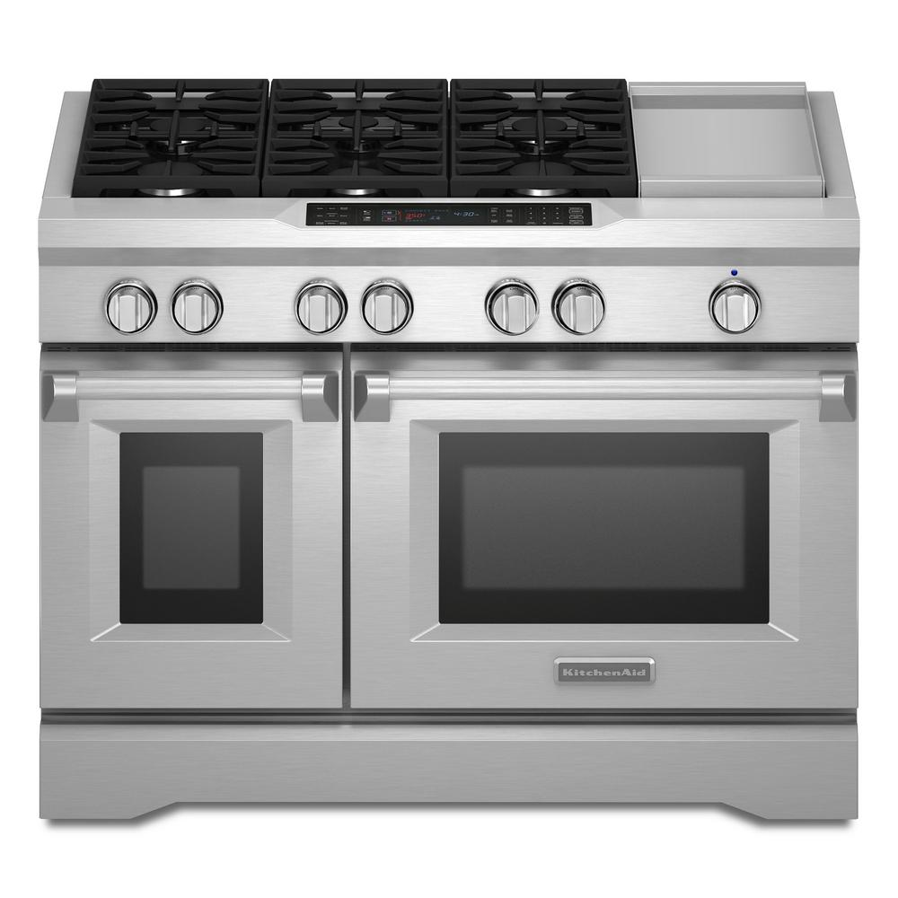 KitchenAid Commercial Style 48 In. 6.3 Cu. Ft. Slide In Double Oven Dual  Fuel Range, Self Clean Convection Oven In Stainless Steel KDRS483VSS   The  Home ...