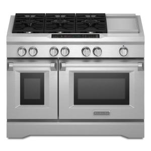 Click here to buy KitchenAid Commercial-Style 48 inch 6.3 cu. ft. Slide-In Double Oven Dual Fuel Range, Self-Clean Convection Oven in Stainless Steel by KitchenAid.
