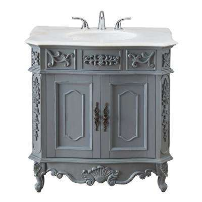 Winslow 33 in. W x 22 in. D Bath Vanity in Antique Gray with White Marble Vanity Top with White Basin