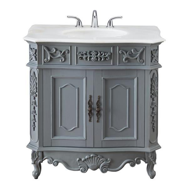 D Bath Vanity In Antique Gray With, Antique White Bathroom Vanity Home Depot