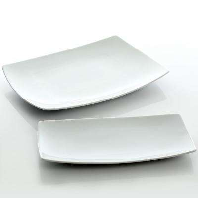 Gracious Dining 2-Piece White Fine Ceramic Serving Platter Set