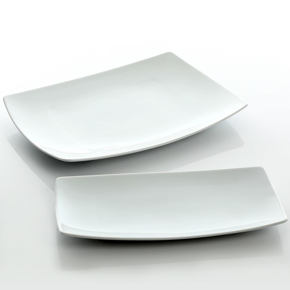 Gracious Dining 2-Piece White Fine Ceramic Serving Platter Set