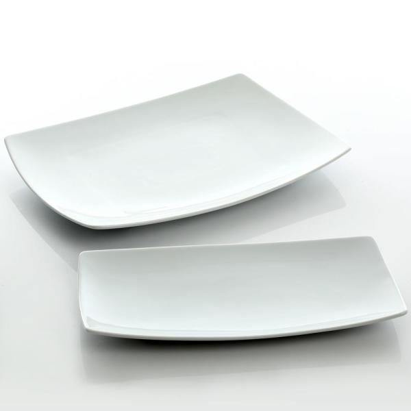 GIBSON elite Gracious Dining 2-Piece White Fine Ceramic Serving Platter Set