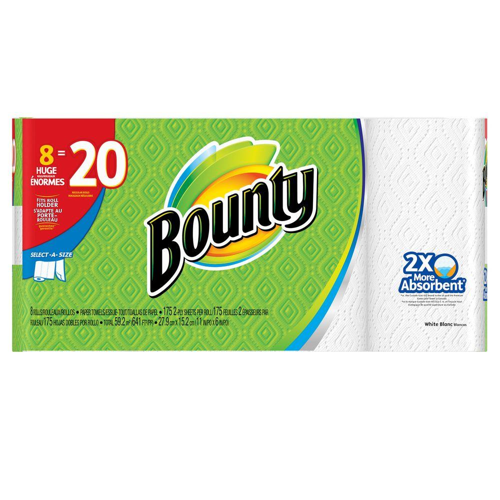 Bounty Select-A-Size White Paper Towels (8 Huge Rolls)