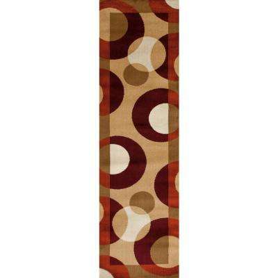 2 ft. x 7 ft. 2 in. Contemporary Circles Multi Runner Rug