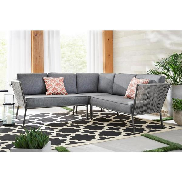 Hampton Bay Tolston 3-Piece Wicker Outdoor Patio Sectional Set with Charcoal Cushions