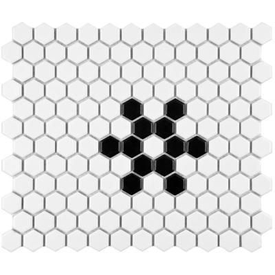 Metro Hex Matte White with Snowflake 10-1/4 in. x 11-3/4 in. x 5 mm Porcelain Mosaic Tile (8.56 sq. ft. / case)
