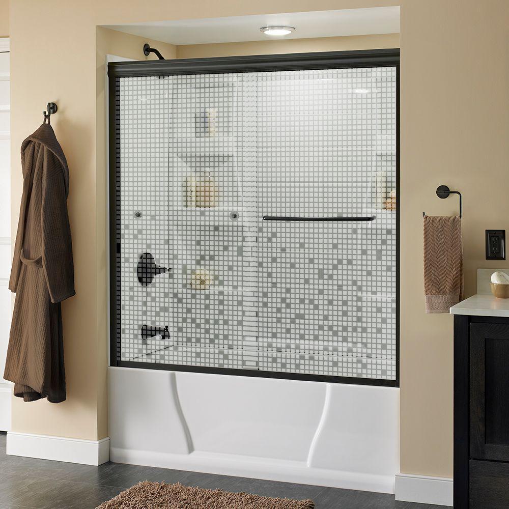 Simplicity 60 in. x 58-1/8 in. Semi-Frameless Sliding Bathtub Door in Bronze with Mozaic Glass