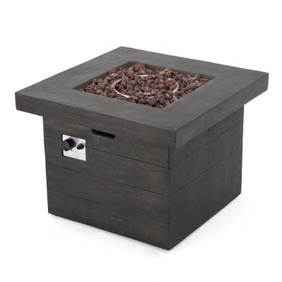 Anchorage Wood Finish Square Gas Outdoor Fire Pit