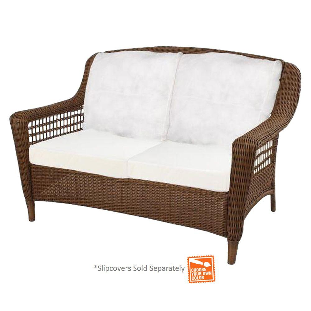 Hampton Bay Spring Haven Brown Wicker Outdoor Patio Loveseat With Cushion Insert Slipcovers