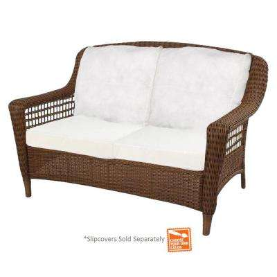 Spring Haven Brown Wicker Outdoor Patio Loveseat with Cushion Insert (Slipcovers Sold Separately)
