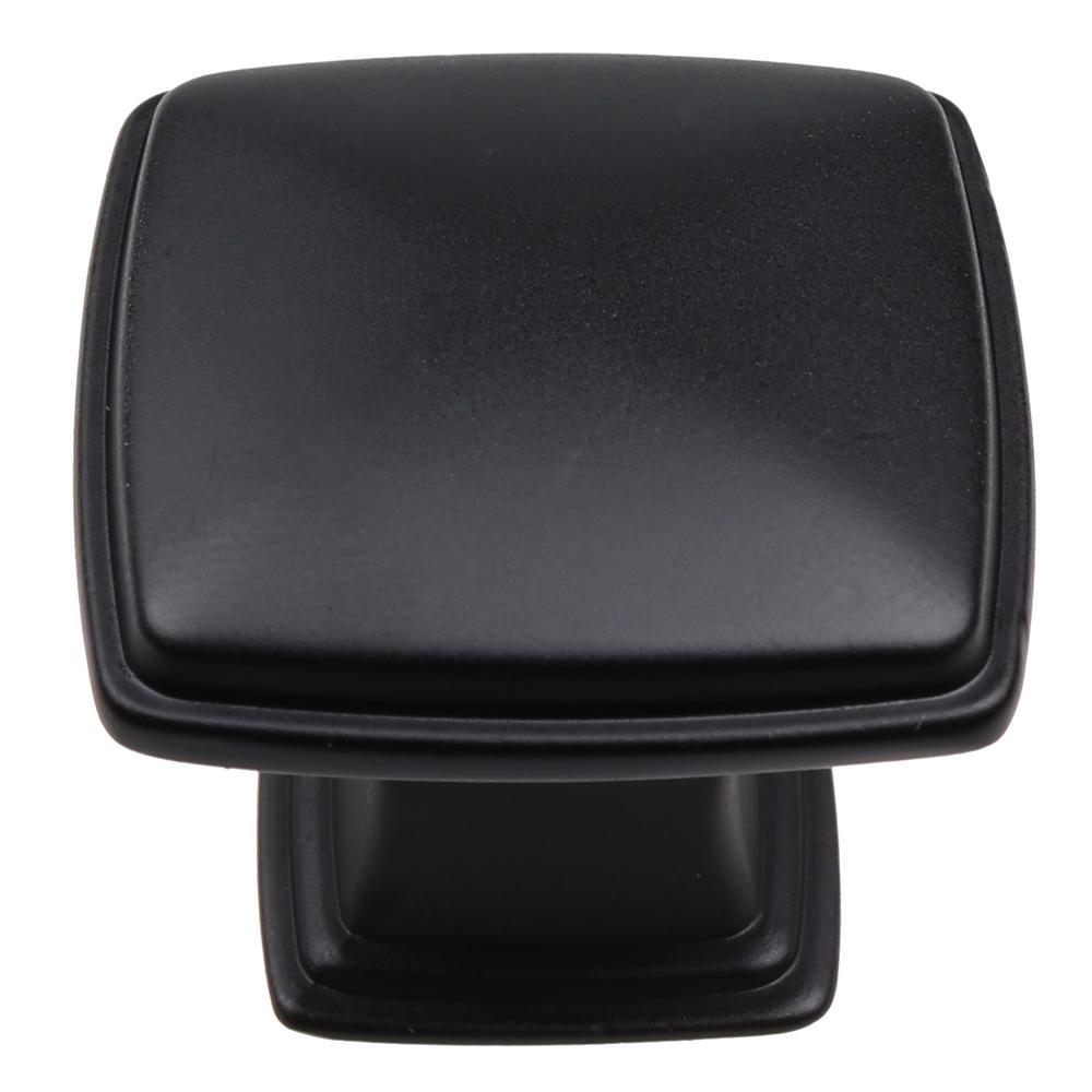1-1/4 in. Matte Black Square Deco Cabinet Knobs (10-Pack)