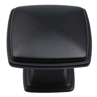 1-1/4 in. Matte Black Square Deco Cabinet Knobs (10-Pack)