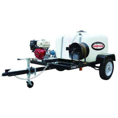 3200 PSI at 2.8GPM HONDA GX200 with CAT Triplex Plunger Pump Cold Water Professional Gas Pressure Washer Trailer