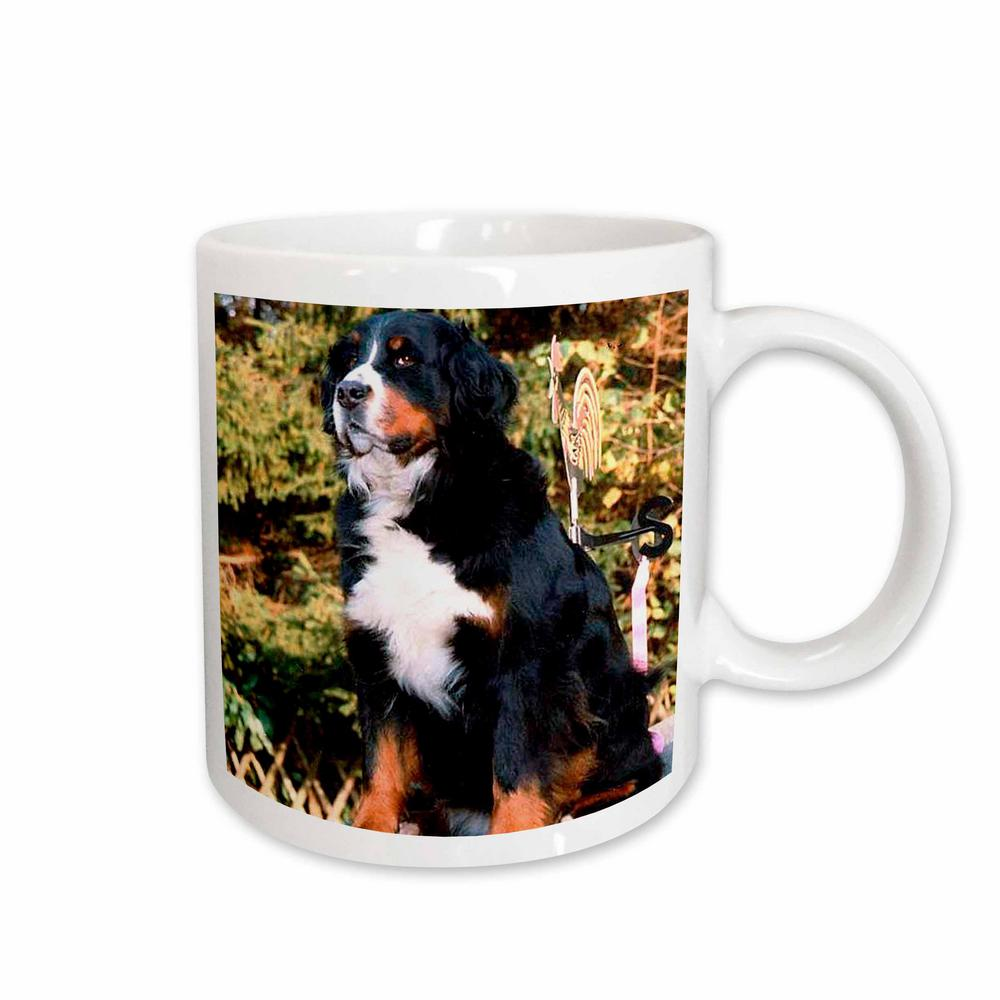 Rose Dogs 11 Oz White Ceramic Bernese Mountain Dog Mug