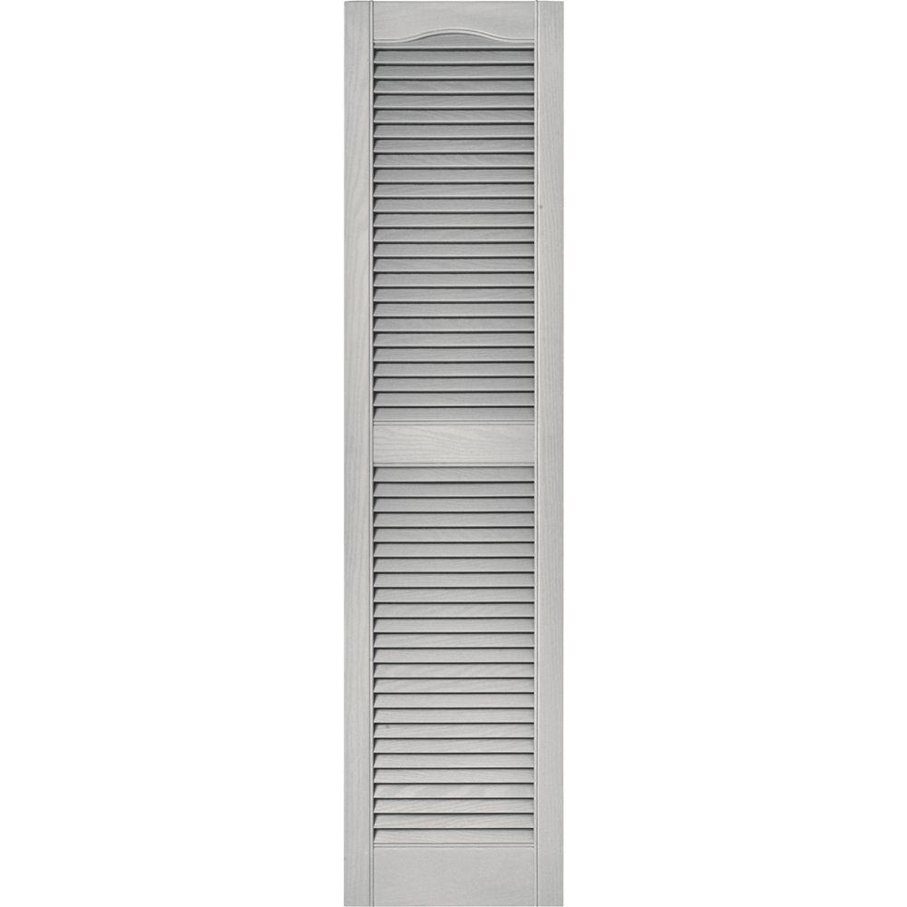 Builders edge 15 in x 60 in louvered vinyl exterior - Paintable louvered vinyl exterior shutters ...