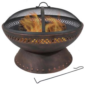 25-In Chalice Steel Fire Pit with Spark Screen - Copper Finish