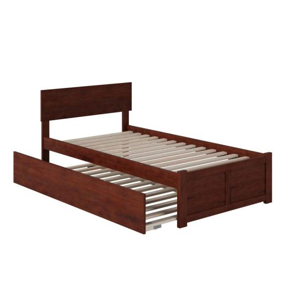 Orlando Twin Extra Long Bed with Footboard and Twin Extra Long Trundle in Walnut