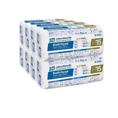 R-15 Kraft Faced Fiberglass Insulation Batt 23 in. x 93 in. (8-Bags)