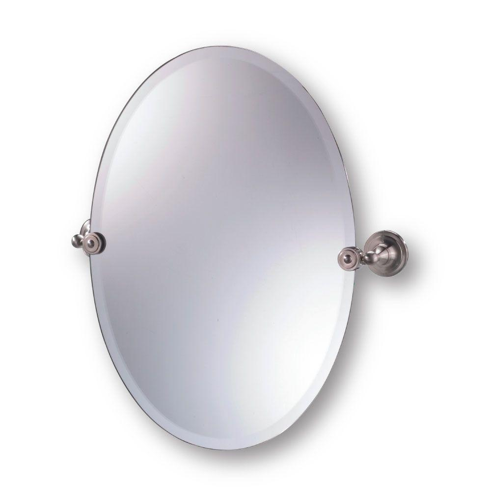 Moderno Diviana 20 in. x 24 in. Oval Pivot Mirror in Brushed Nickel-DISCONTINUED