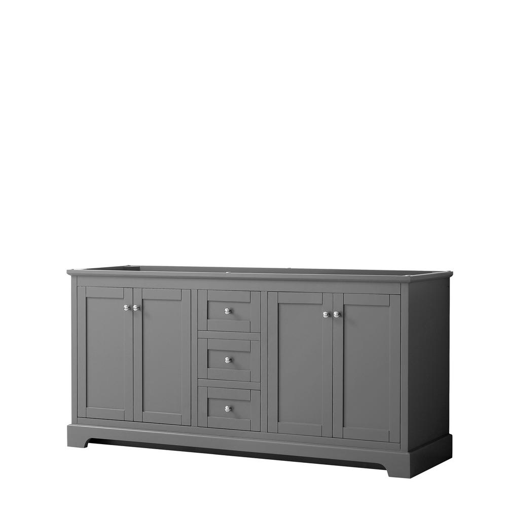 Wyndham Collection Avery 71 in. W x 21.75 in. D Bathroom Vanity Cabinet Only in Dark Gray