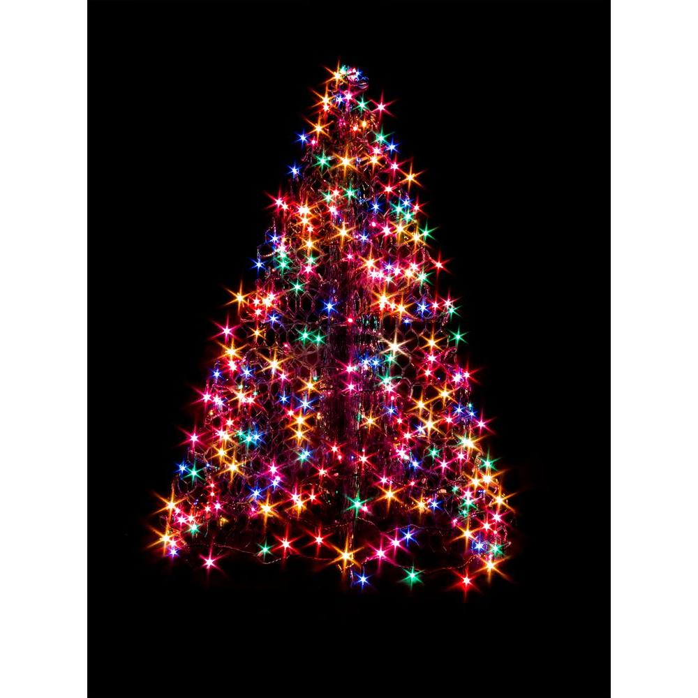 Crab Pot Trees 4 Ft Indoor Outdoor Pre Lit Led Artificial Christmas Tree With Green Frame And 240 Multi Color Lights G4m Led The Home Depot