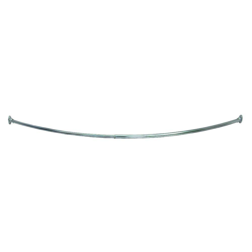 55 in. - 63 in. Steel Curved Shower Rod in Satin
